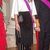 Queen Rania Wearing Her Balmain Skirt at a Gala Dinner