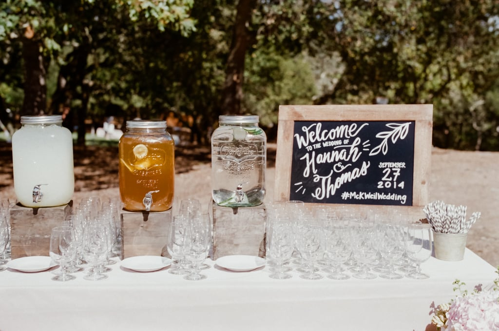The Drink Station Welcome Sign And Wedding Hashtag Included