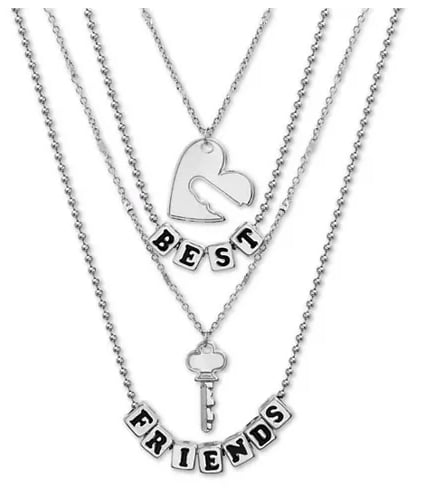 Silver-Tone Best Friends Heart & Key Double-Row Pendant Necklaces Gift Set