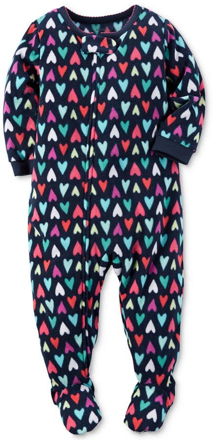 Heart Print Cotton Footed Pajamas
