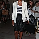 Rachel Roy added a white blazer and statement jewels to her stripes — plus a pair of her embellished, Spring '13 heels — at her show in New York.
