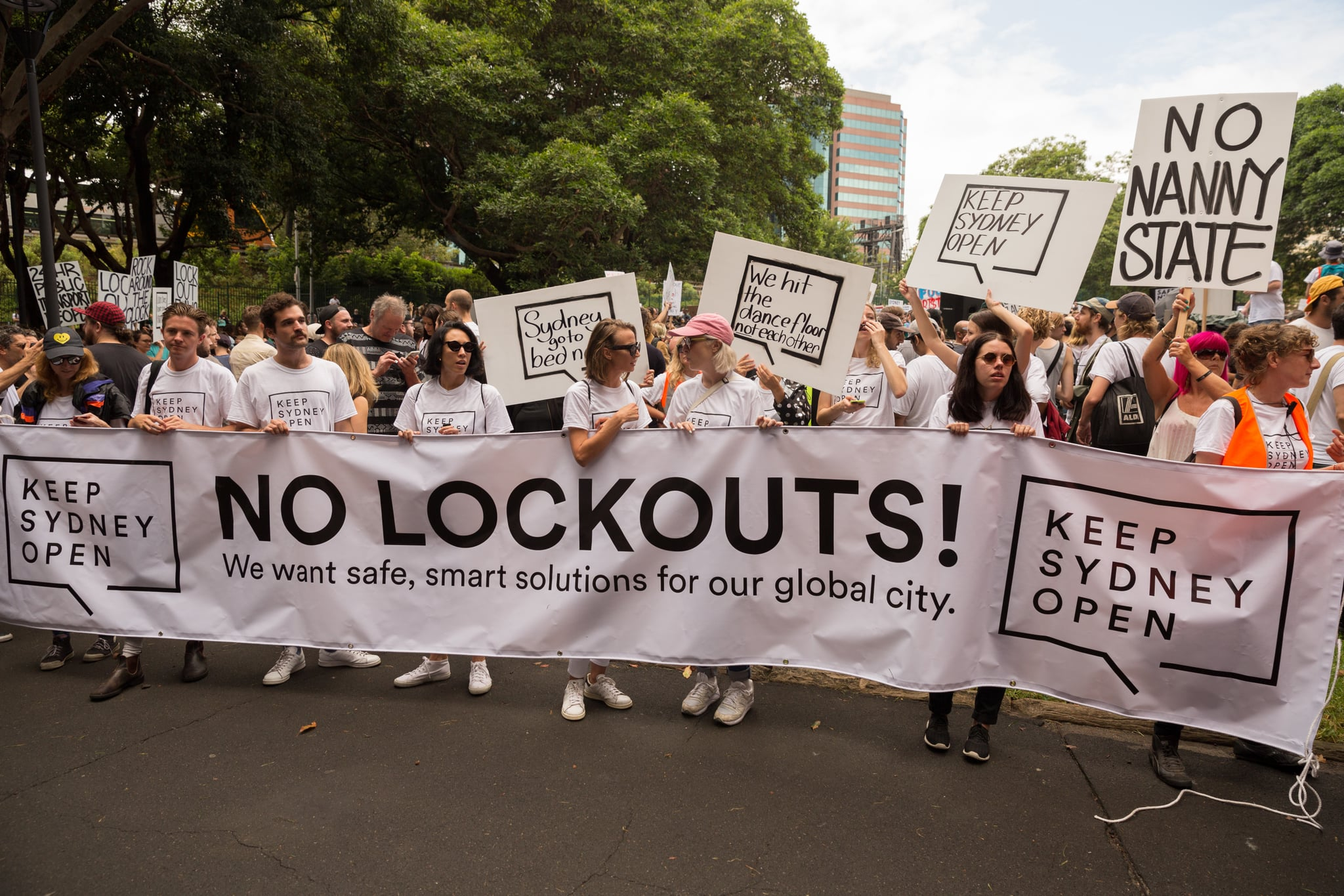 SYDNEY, NSW, AUSTRALIA - 2016/02/21: Protesters assembled and ready to march in Belmore park the rallying point for the demonstration. An estimated 15 thousand  protested in a colorful, noisy, musical rally in Sydney against the controversial CBD 'Lock out Laws' introduced by the State Government in an attempt to curtail alcohol violence. (Photo by Richard Ashen/Pacific Press/LightRocket via Getty Images)