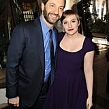 Lena Dunham celebrated at the AFI Awards with Judd Apatow.