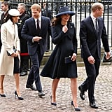 March: The royal foursome stepped out together for a Commonwealth Day Service, marking Meghan's first outing with the queen.