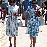 They walked side by side during their trip to the Caribbean island of Mustique — where Margaret owned a villa and the royal family vacations to this day — back in 1977.