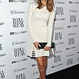 At the West Hollywood Who What Wear event, Jessica Alba was white hot in Wes Gordon's cotton sheath that was enhanced by pop-of-color striped pleats.