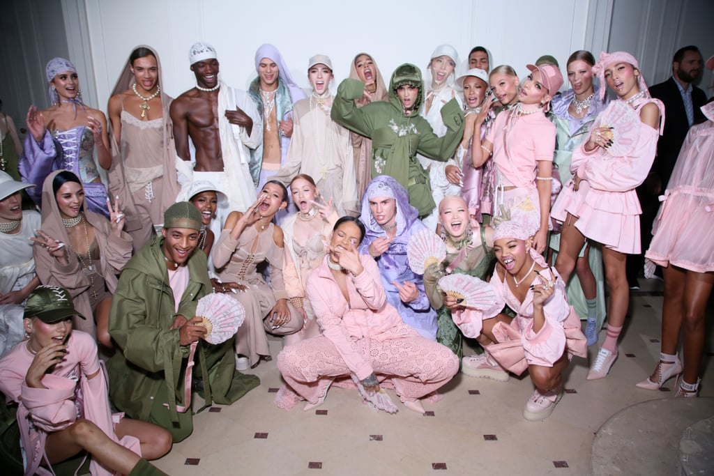 Backstage, Rihanna Took a Photo With Her Models
