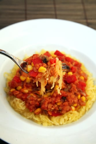 Maple Cumin Lentils Over Spaghetti Squash