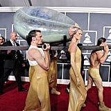 """It was the entrance seen round the globe —Lady Gaga arrived on the red carpet in an egg and then """"hatched"""" on stage during her opening performance in 2011."""