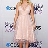 Kaley Cuoco wore a pink dress on the red carpet.