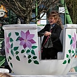 Honor Warren played in the teacups on Sunday in Paris at an amusement park.