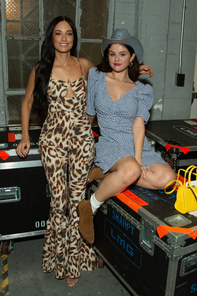 Selena Gomez in Blue Dress With Kacey Musgraves