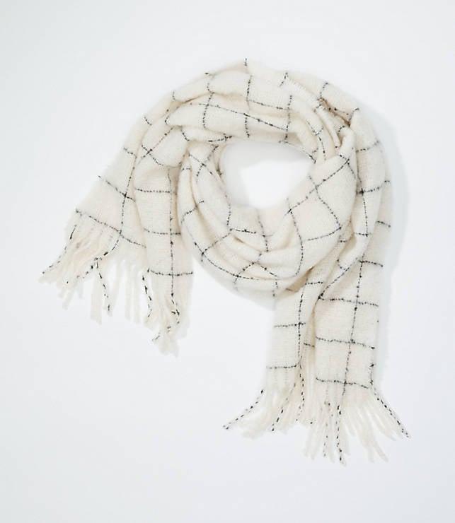 Plaid Boucle Blanket Scarf