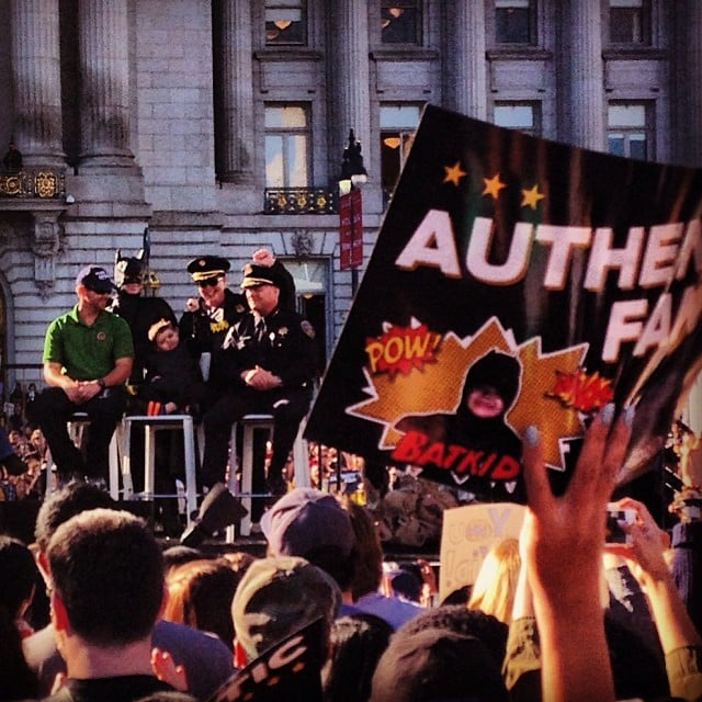 Batkid held up a hand in the air, cheering when he received the key. Source: Instagram user jamigraves