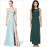 Ralph Lauren Classic Ralph Lauren offers up a few simple but chic bridesmaid styles from its Lauren label, including a beaded one-shoulder gown ($290). Rent the Runway If you've got a gaggle of 10 maids, Rent the Runway might not quite work out. But just a few? Organize your girls and have them reserve dresses (like this embellished Reem Acra number $800) far in advance to avoid any headache-inducing panics when a certain size is all booked up for the big weekend.  Club Monaco If 20-something sophistication is easy to achieve with a quick stop in this retailer, the same could be said for dresses that will easily transition to a party frock (in other words, don't expect a lot of floor sweepers).Our obsession is this beautiful silk maxi dress ($289).