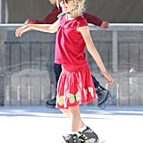 Violet Affleck hit the ice at a rink in LA.