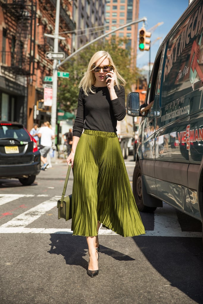 A Pleated Midi, Simple Three-Quarter-Sleeved Tee, and Matching Bag