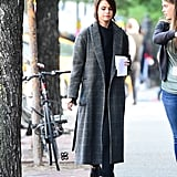Selena Gomez Was Seen at the Set of Her New Movie Wearing a Tweed Coat