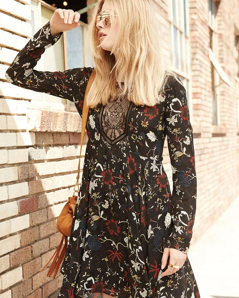 A.L.C. Cynthia Long-Sleeve Floral Silk A-Line Dress