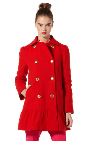 This Original Penguin red peplum coat ($298) will surely make you stand out from any crowd you enter.
