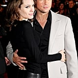 Brad Pitt und Angelina Jolie bei der London-Premiere von Beowulf im November 2007.