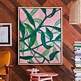 Palm Springs Pink Vine Natural Wood Framed Canvas