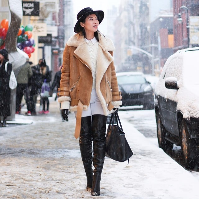 Real-Life Ways to Wear a Shearling Jacket This Winter | POPSUGAR ...