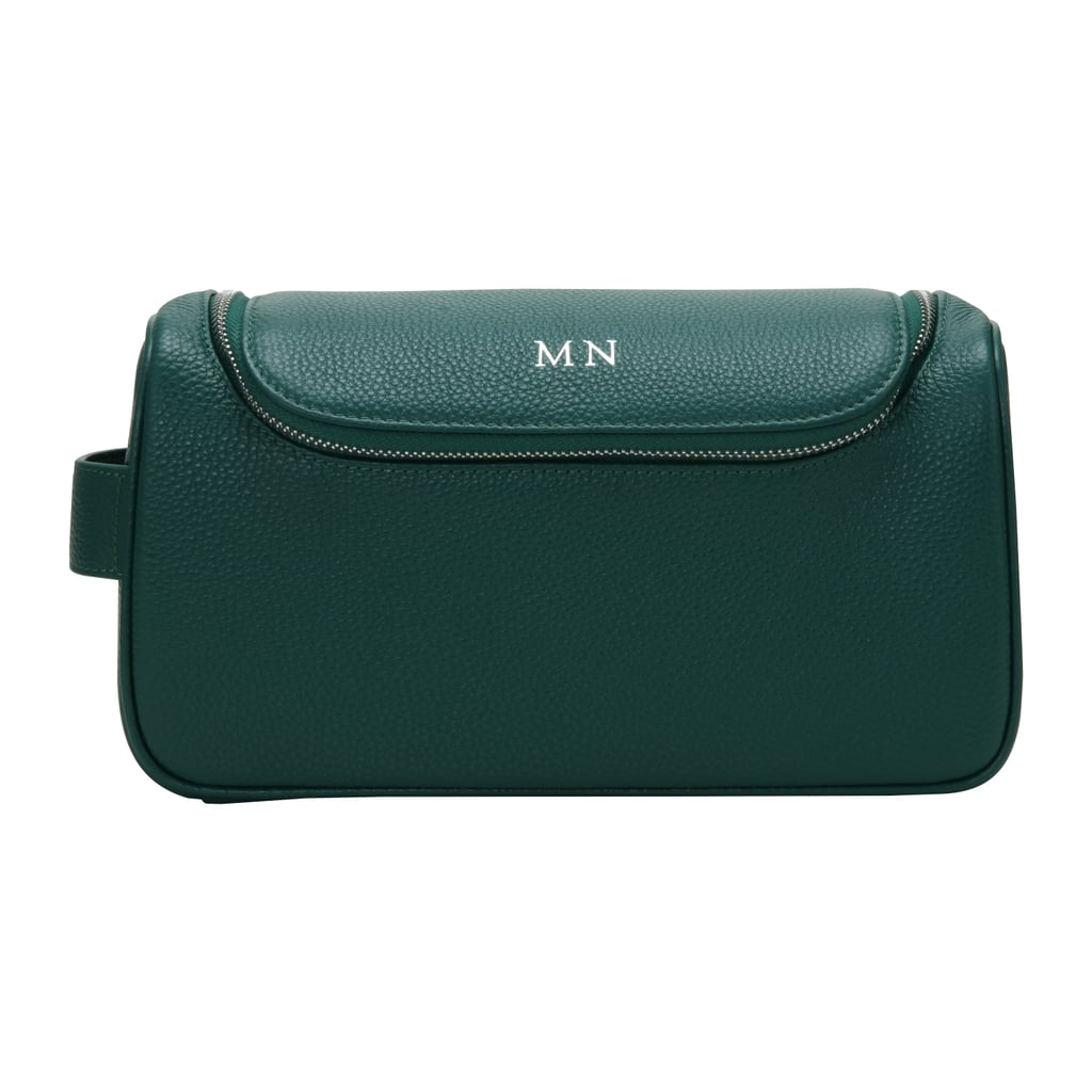 The Daily Edited — Pine Green Top Zip Pebbled Wash Bag