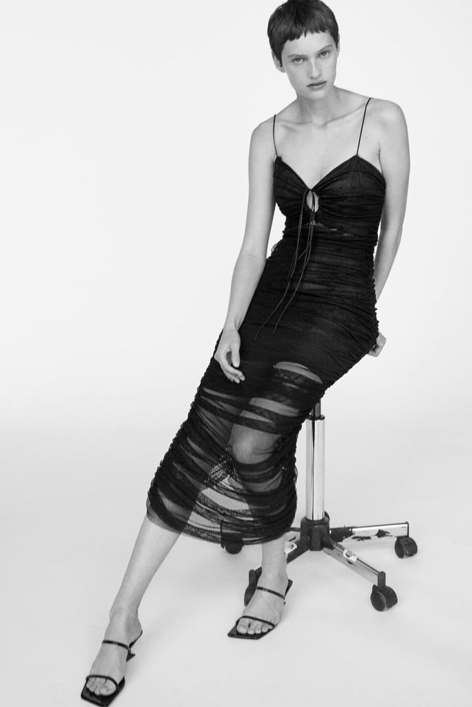 For a Sultry Statement: Draped Tulle Dress