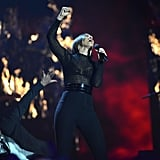 Alicia Keys wore black for her performance at the MTV EMAs.