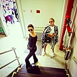 """Editor Derek Blasberg snapped a shot of Kendall and Gigi leaving the DVF show. #MissionComplete. """"Stairs. Stares,"""" he wrote."""
