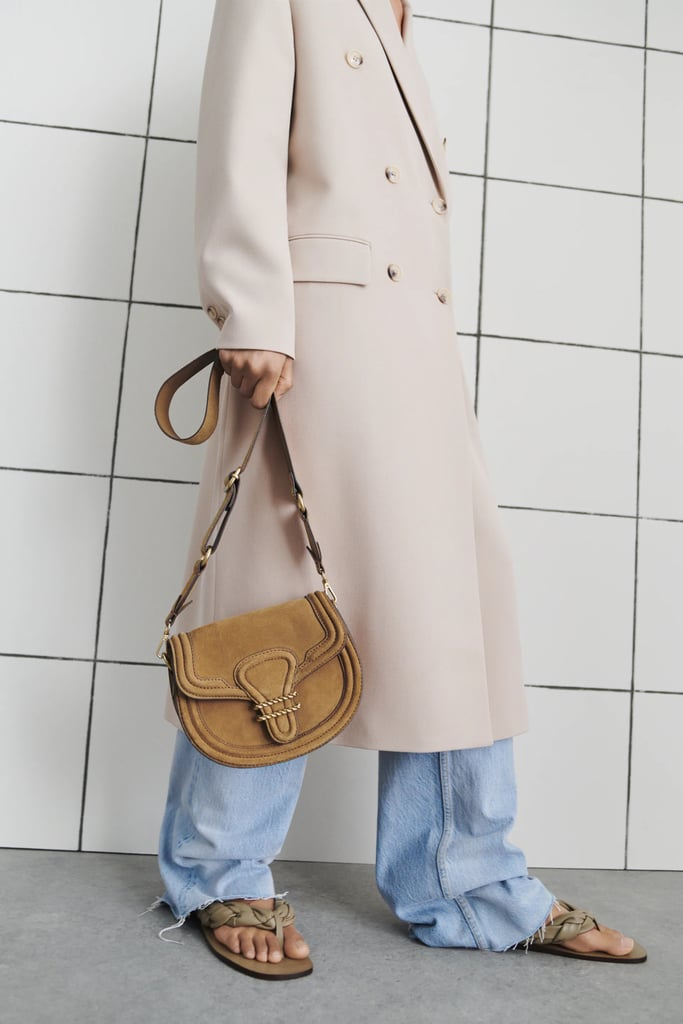 A Classic Crossbody: Zara Oval Split Leather Crossbody Bag