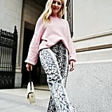 Style Your Sweater With: Printed Pants, Boots, and a Bag