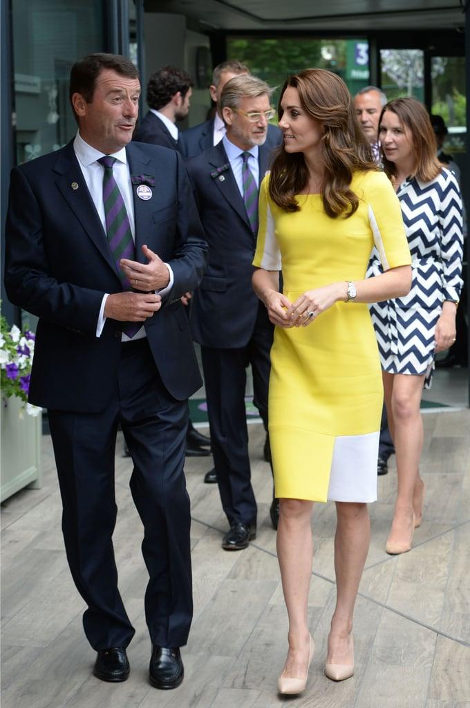 Duchess Kate's Yellow Roskanda Dress at Wimbledon 2016