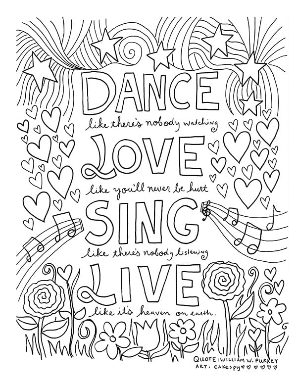 Get the coloring page dance love sing live