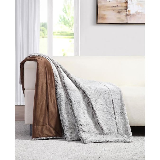 MHF Home MHF Home Millburn Faux Fur Throw Blanket Brown Polyester Throw