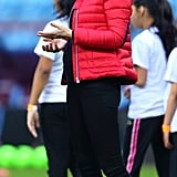 The Duchess of Cambridge wore a pair of New Balance sneakers when she visited the Aston Villa Football Club in November 2017.