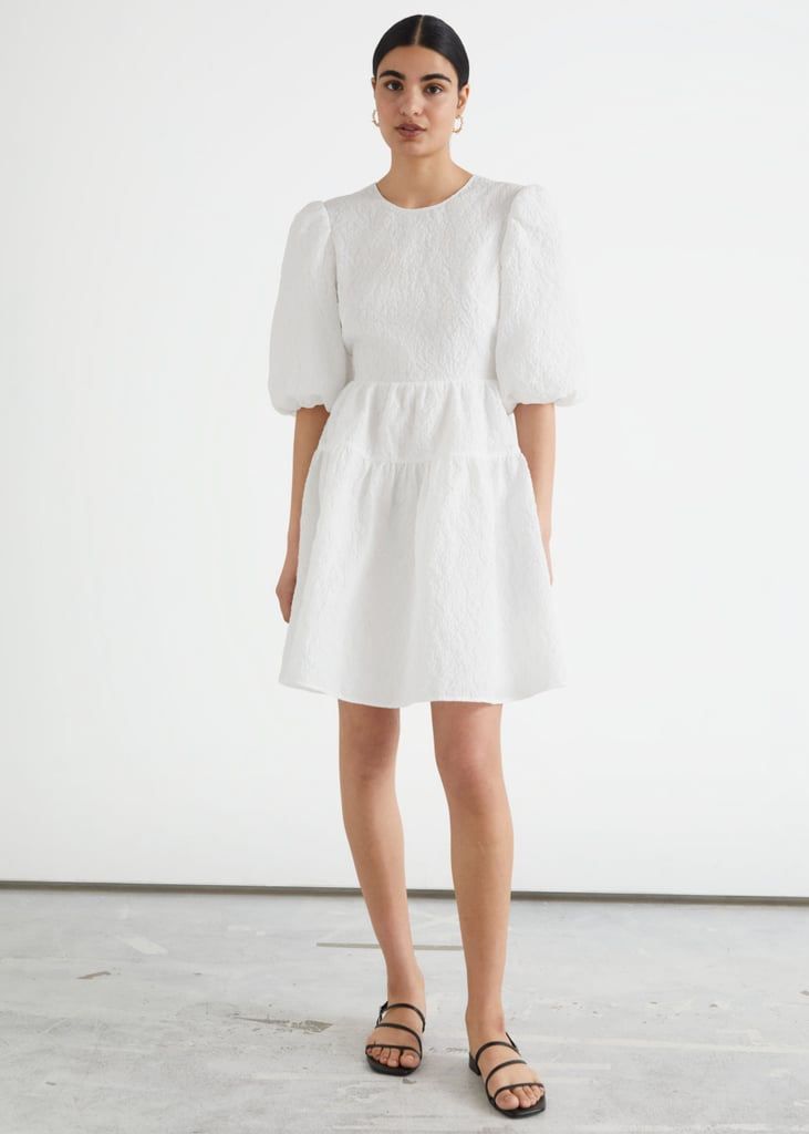 & Other Stories Puff Sleeve Jacquard Mini Dress