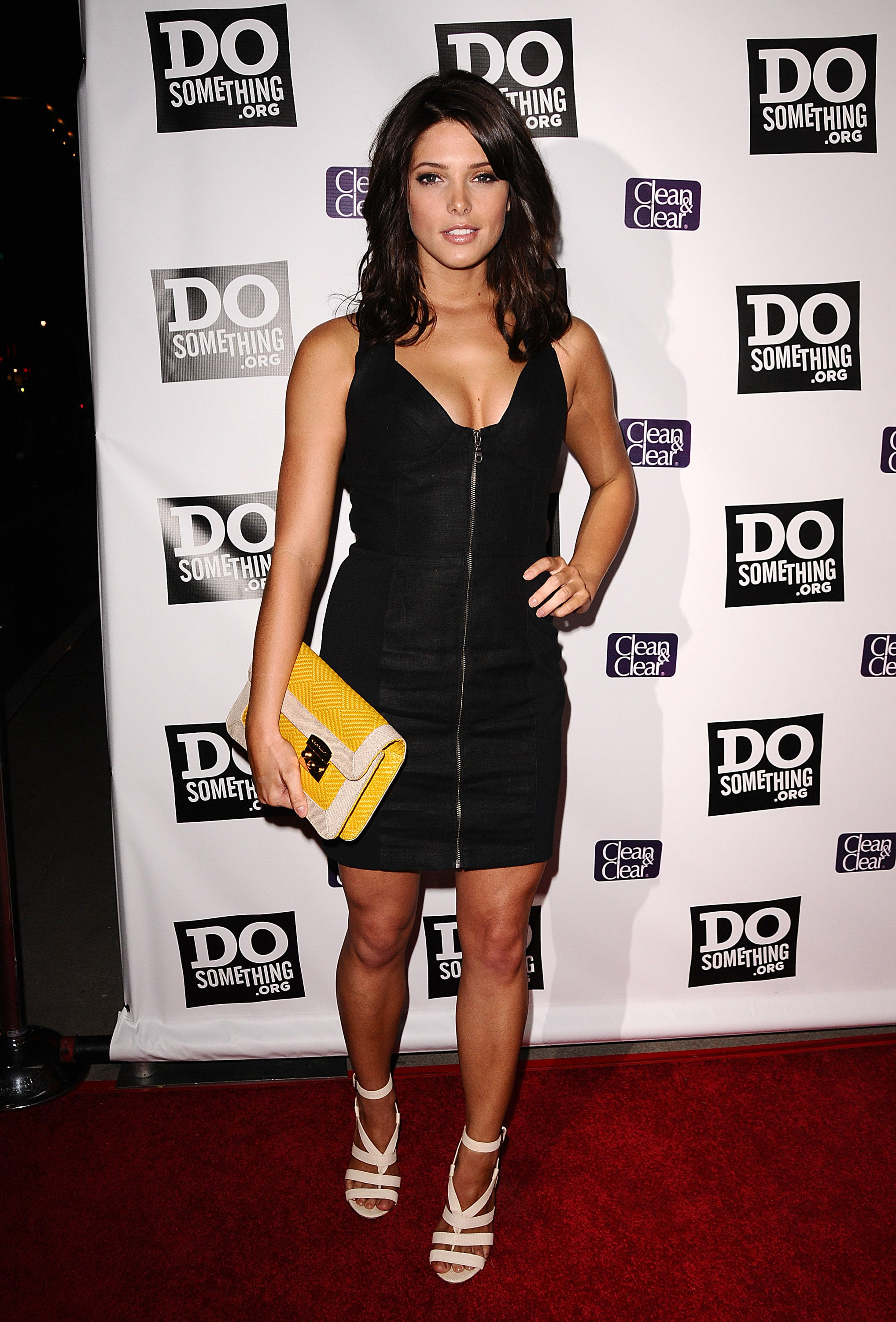 A sexy, front-zip mini and strappy heels for a DoSomething.org event in 2009.