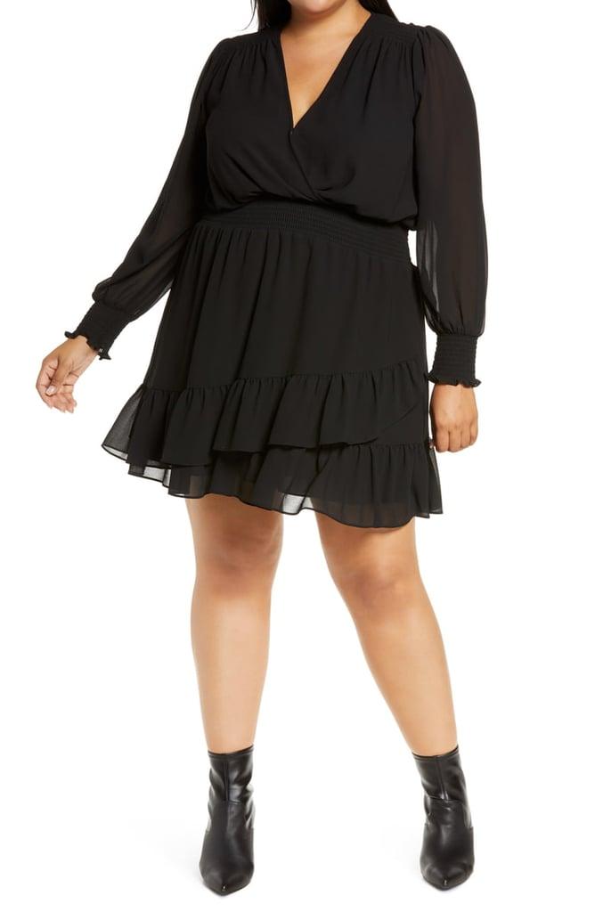 MICHAEL Michael Kors Ruffle Long-Sleeve Faux Wrap Dress