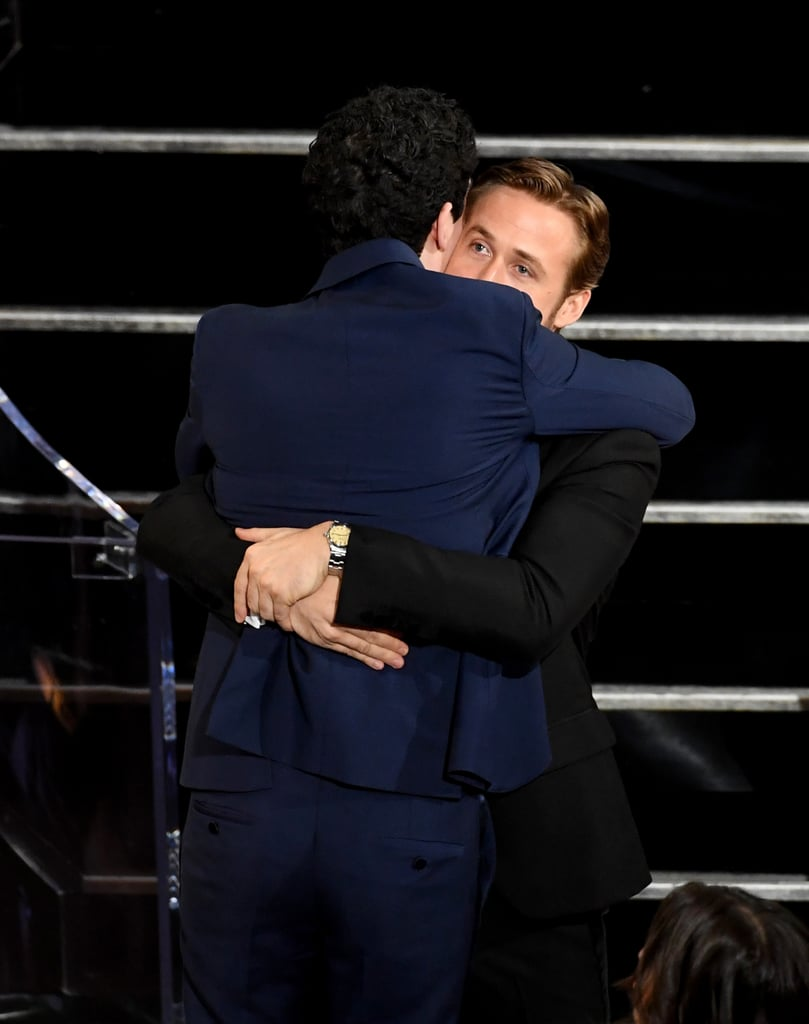 Is there anything purer than Ryan Gosling's relationship with director Damien Chazelle? The answer is likely no. The Oscar-recognized duo have now worked together twice, and both their professional and personal relationships are ones to envy. The pair first combined their talents on the critically acclaimed La La Land and are now promoting their second project, First Man, a biopic of astronaut Neil Armstrong's life.  As a result of their collaborative efforts, the two have formed an undeniably sweet bond. In fact, spotted at press junkets, premieres, and award shows, they have often expressed their friendship through childlike smiles, sly smirks, and warm embraces. Read on for all the pictures of their sweet budding relationship.       Related:                                                                                                           Need a Little Pick Me Up? Here Are 90 Photos of Ryan Gosling Being His Beautiful Self