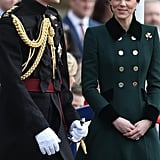 She Accessorized Her Coat With a Shamrock Brooch