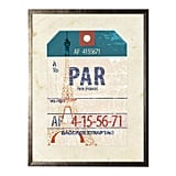 Paris Travel Ticket in Pewter Shadowbox