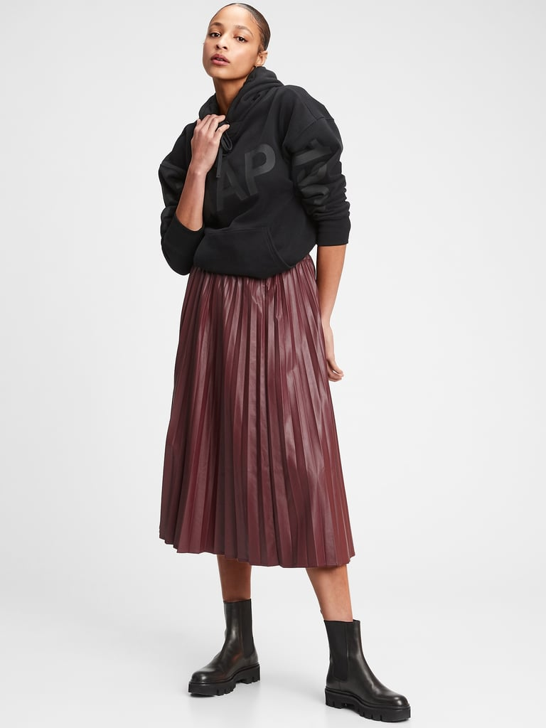 Gap Faux-Leather Pleated Midi Skirt