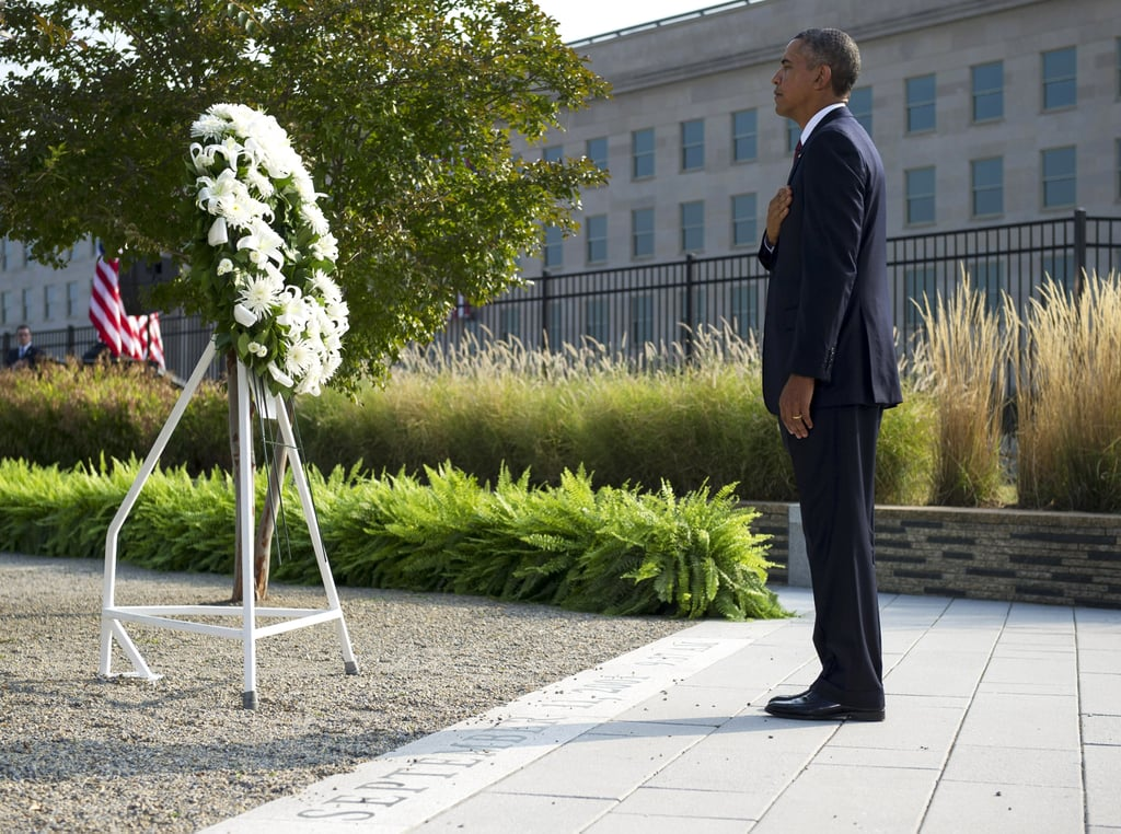 President Obama laid a wreath during the Pentagon observance ceremony in Arlington, VA.