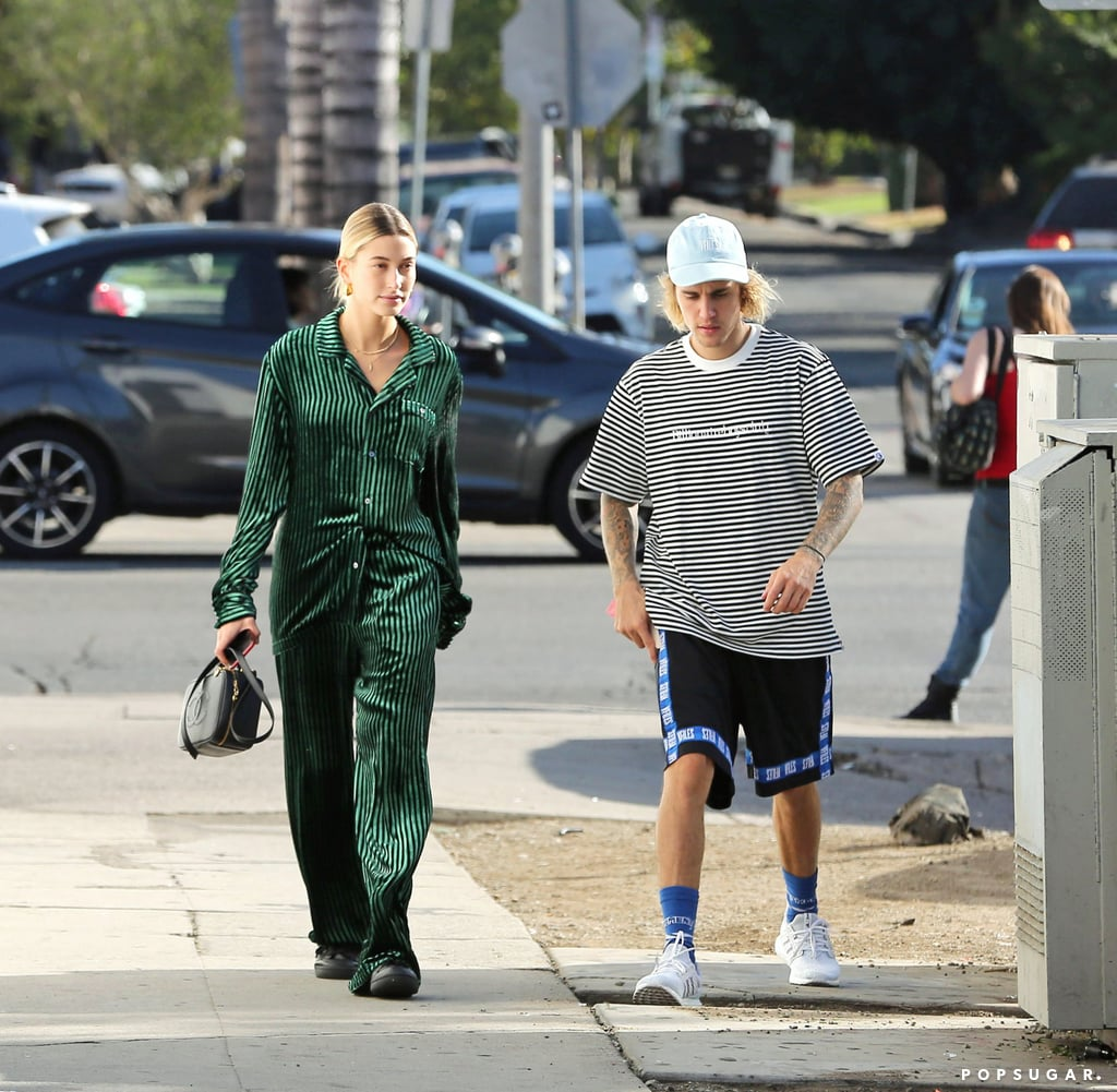 Hailey Baldwin Green Pajama Set With Justin Bieber 2018