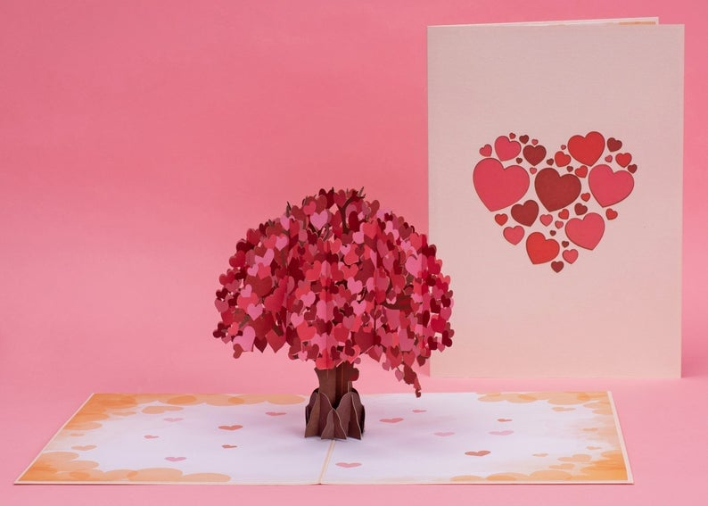 Paper Love Tree of Hearts Valentines Day Pop Up Card