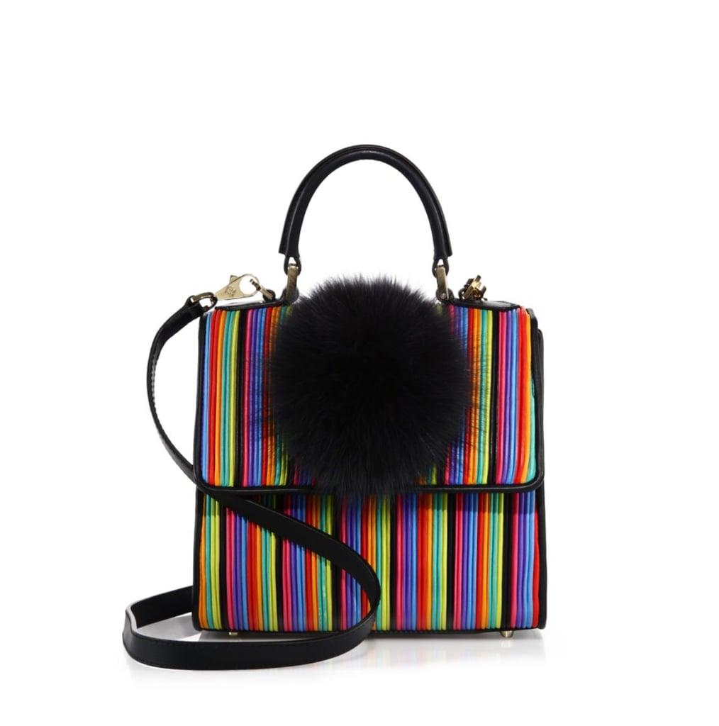 Les Petits Joueurs Fox Fur Pom-Pom Leather Top Handle Bag ($1,282)
