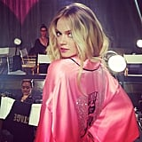 Lindsay Ellingson was ready for the show to start. Source: Instagram user lindellingson