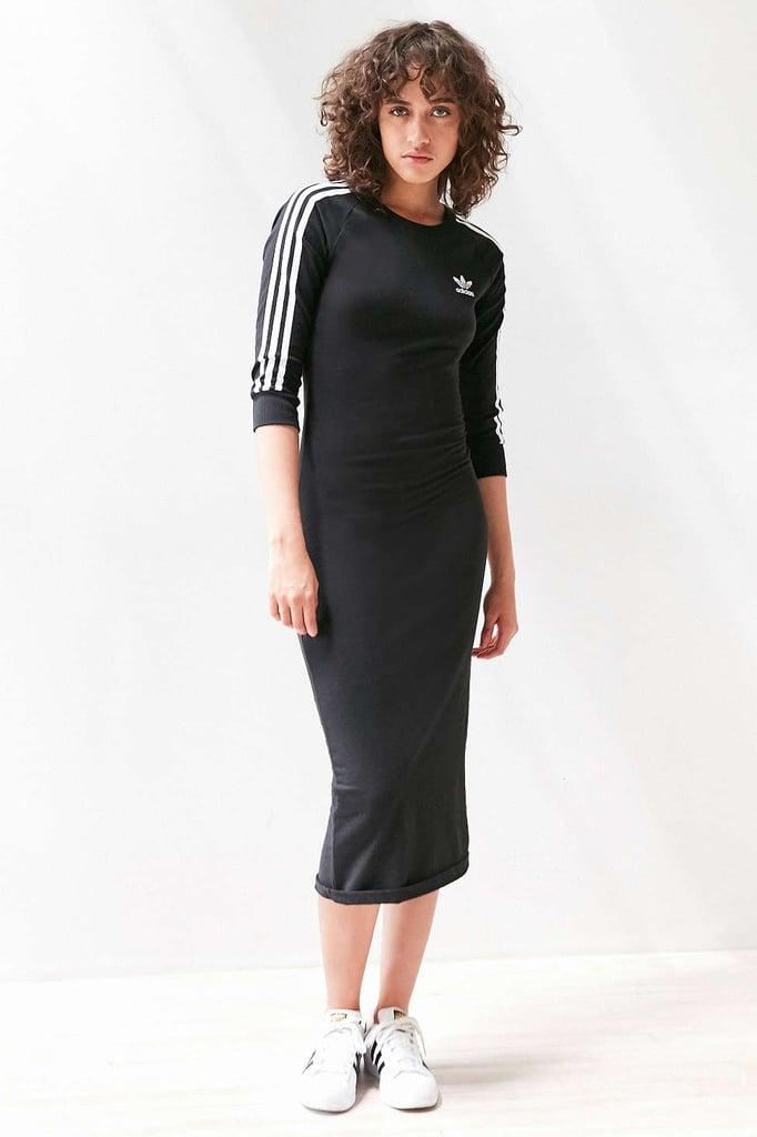 The Dress: Adidas Three Stripe Mini Bodycon Dress ($60)  The Costume: Bella Hadid, a football coach, or Sporty Spice.